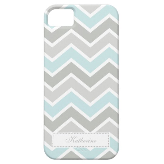 Blue and Grey Zigzag Chevron Pattern iPhone 5 Cover