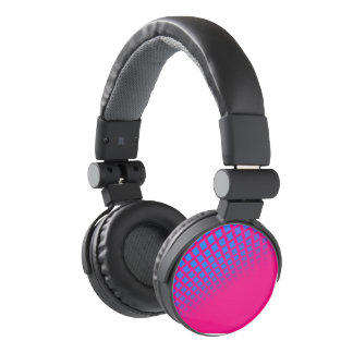 Blue and Hot Pink Headphones