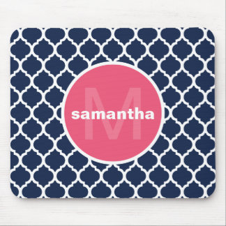 Blue and Hot Pink Quatrefoil Monogram Mouse Mat