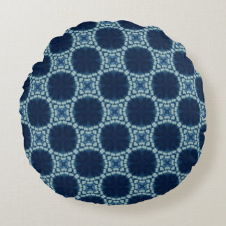 Blue and Indigo Pattern Round Cushion