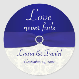 "Blue and Ivory Damask 1.5"" Round Wedding Sticker"