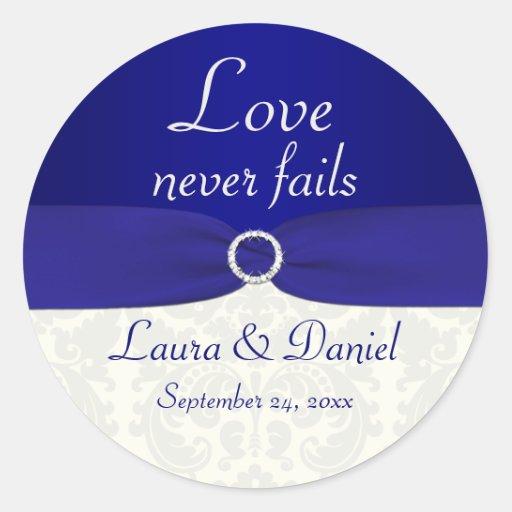"Blue and Ivory Damask 1.5"" Round Wedding Sticker"