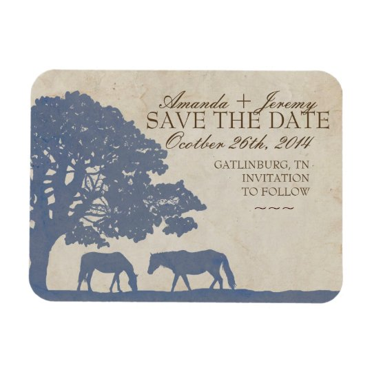 Blue and Ivory Vintage Horse Farm Save The Date Magnet