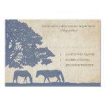 Blue and Ivory Vintage Horse Farm Wedding rsvp 9 Cm X 13 Cm Invitation Card