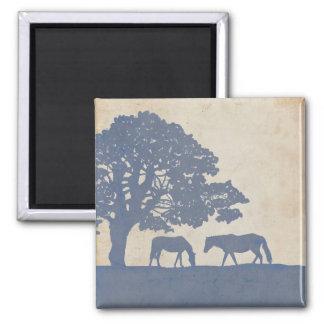 Blue and Ivory Vintage Horse Farm Wedding Square Magnet
