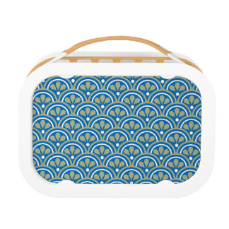 Blue And Khaki Floral Art Deco Pattern Lunch Box