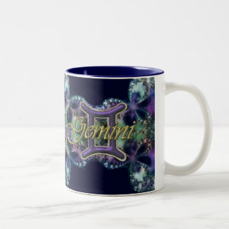 Blue and Lavender Lace Zodiac Sign Gemini Mug