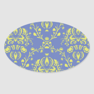 blue and lime green elegant damask.ai oval sticker