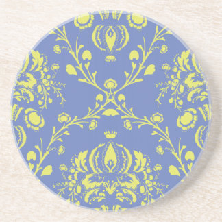 blue and lime green elegant damask coaster