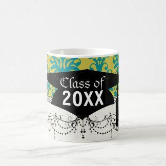 blue and lime green elegant damask graduation basic white mug