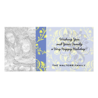 blue and lime green elegant damask personalised photo card