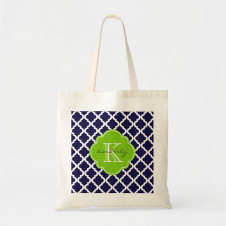 Blue and Lime Green Moroccan Quatrefoil Monogam Tote Bag