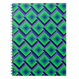 Blue and Lime Layered Diamonds Spiral Notebooks
