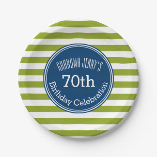 Blue and Lime Striped Pattern Green Monogram Paper Plate
