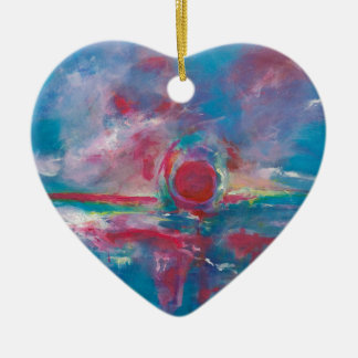 Blue and Mauve Sunset Ceramic Heart Decoration