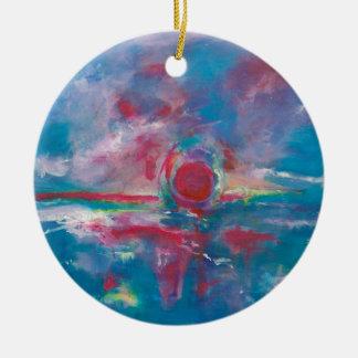 Blue and Mauve Sunset Round Ceramic Decoration