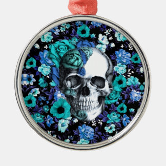 Blue and mint retro floral skull christmas ornament