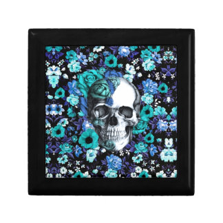 Blue and mint retro floral skull small square gift box