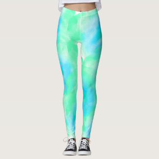 Blue and Mint Watercolor Leggings