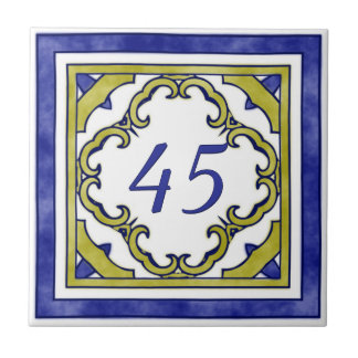 Blue and Mustard Green Big House Number Small Square Tile