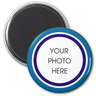 Blue and Navy Photo Frame 6 Cm Round Magnet