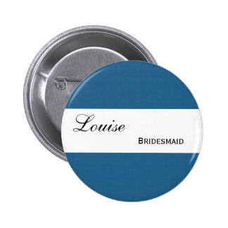 Blue and Navy Retro Squares Wedding Collection 6 Cm Round Badge