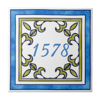 Blue and Olive Green Small House Number Small Square Tile