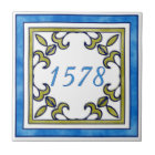 Blue and Olive Green Small House Number Tile