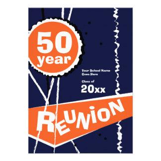 Blue and Orange 50 Year Class Reunion Invitation