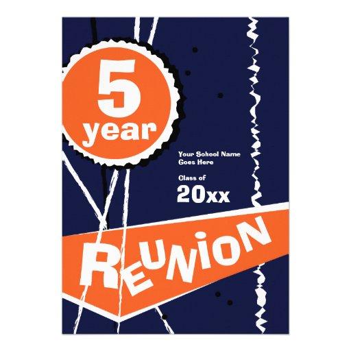 Blue and Orange 5 Year Class Reunion Invitation