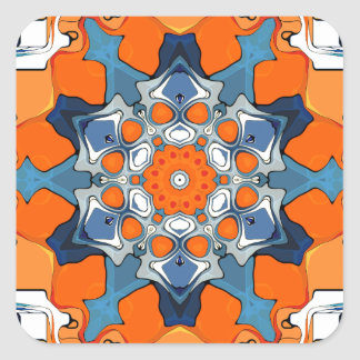 Blue And Orange Abstract Square Sticker