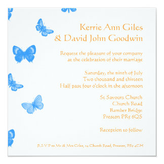 Blue and Orange Butterfly Wedding Invitation