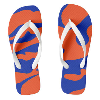 Blue and Orange Camo Flip Flops