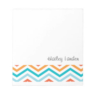 Blue and Orange Chevron     Personalized Notepads
