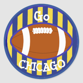 Blue and Orange Chicago Football Team Stickers