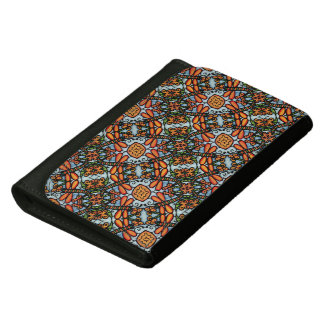 Blue And Orange Dragonfly Pattern Leather Wallet