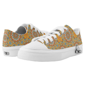 Blue and Orange Floral Mandala Low Tops