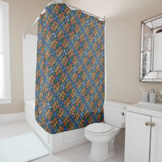 Blue And Orange Floral Pattern Shower Curtain