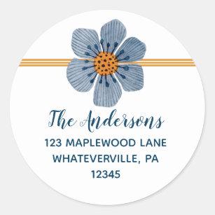 Blue and Orange Flower Round Address Labels