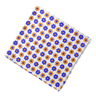 Blue and orange flowers bandana