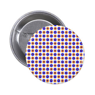 Blue and orange flowers button