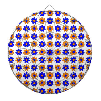 Blue and orange flowers dartboard