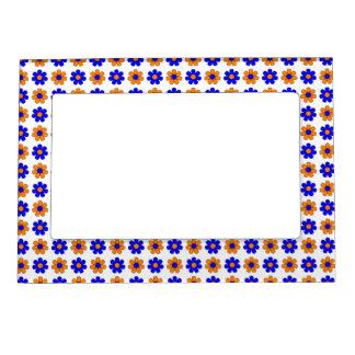 Blue and orange flowers frame