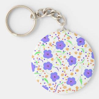 Blue and Orange flowers Basic Round Button Key Ring