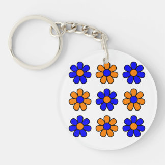 Blue and orange flowers keychain