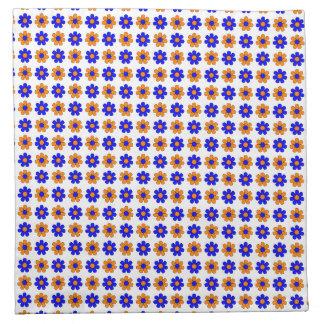 Blue and orange flowers napkins