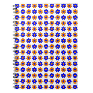 Blue and orange flowers notebook