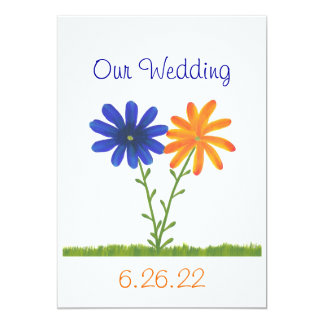 Blue and Orange Flowers,  Our Wedding Invitations