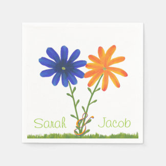 Blue and Orange Flowers Personalized Napkins Paper Napkin