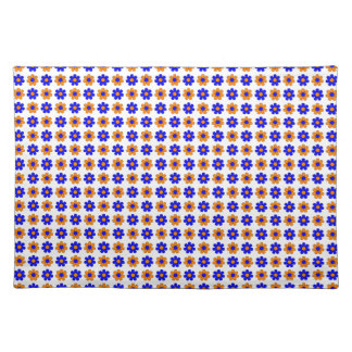 Blue and orange flowers placemat